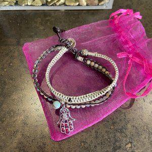 Double Rope and Beaded Hamsa Bracelet